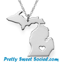 S925 Sliver Michigan Love Necklace