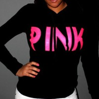 "Victoria's Secret ""Pink"" Letter Print Women Hoodie Sweater Tops Black I"