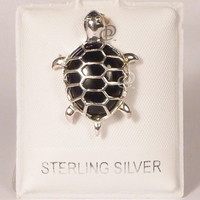 Black Onyx and Sterling Silver Turtle Pendant