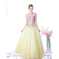 Yellow Sexy Embellished Strapless Tulle Long Gown 2016 Prom Dresses