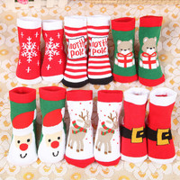 Free shipping Cute Bear Deer Santa Claus Pattern Children adult Cotton Winter Socks Christmas Socks For Kids women