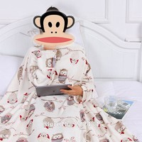 Thick Snuggie Fleece throw blanket with Sleeve for Bed Cosy Travel Plaids TV Casual Relax for family holiday Warm Winter Plush