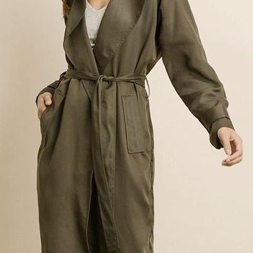 Kayla Tencel Trench Coat in Olive
