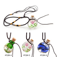 New Fashion Floral Coloured Glaze Glass Empty Refillable Bottle Perfume Essential Oil Diffuser Pendant Necklace
