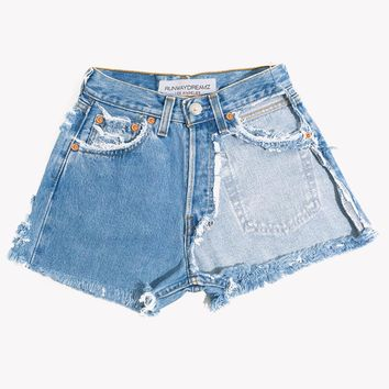 High Rise Half Cut Out Vintage Shorts