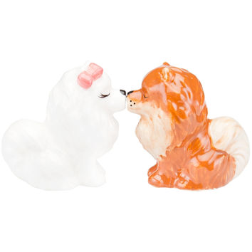 Pomeranians Kissing Salt & Pepper Shakers