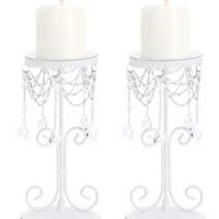 of 2 White Elegant Bead Wrought Iron Pillar Candle Holders