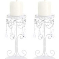 Set of 2 White Elegant Bead Wrought Iron Pillar Candle Holders [Misc.]