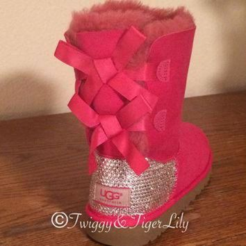 ICIK8X2 UGG Bailey Bow Hot Pink Ugg Boots with Swarovski Crystal Embellishment - Bling Uggs wi