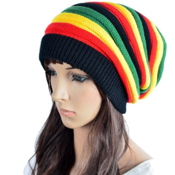 Hot Sale Many Rasta Style Women Men Fashion Knitted Woolen Skull Baggy Crochet Beanie Hat Striped Gorros Cap Skullies & Beanies