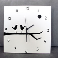 Wall clock- black and white birds clock, birds on a branch - Square Hand painted on canvas, unique kitchen clock