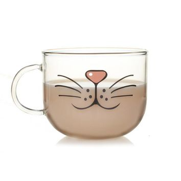 Novelty Glass Cup Cat Face Mugs Coffee Tea Milk Breakfast Mug Creative Gifts 540ml