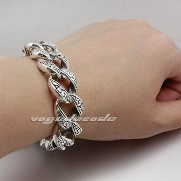 6 Lengths Heavy Solid 925 Sterling Silver Mens Biker Rocker Punk Bracelet 8H005 Free Shipping