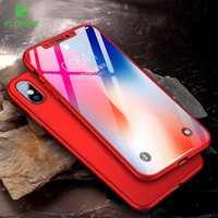 FLOVEME 360 Full Protective Case For iPhone X 8 7 Plus 6 6S Plus Tempered Glass Cases For iPhone 5 5S SE Cases Phone Back Cover