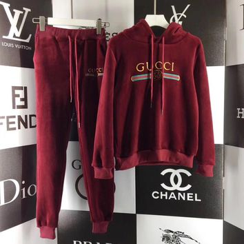 One-nice™ Gucci Top Sweater Pullover Pants Trousers Set Two-Piece Sportswear Red