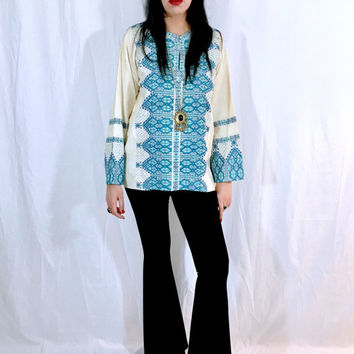 Vintage 70s Turquoise and Blue Grecian Embroidered Cotton Gauze Tunic Blouse Bohemian Shirt Top M // L