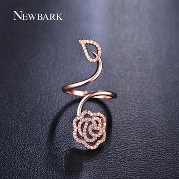 NEWBARK Fashion Wedding Bands Ring Rose Gold Color Flower And Leaf Design Cubic Zirconia Open Trendy Ring Anniversary Jewelry