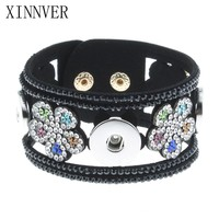 Hot Sale Crystal Flower Black Leather Bracelet Xinnver Snap Buttons Bracelets Fit 18mm Metal Snap Button Jewelry For Women ZE208