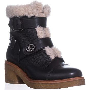 COACH Preston Double Buckle Booties, Black/Natural, 6 US