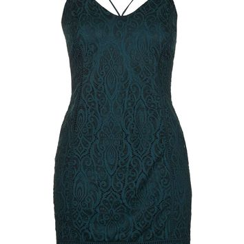 Strappy Plunge Lace Bodycon Dress | Topshop