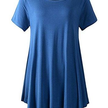 Yidarton Clearance Women's Casual Short Sleeve Cotton Tunic Long T-Shirt Tops
