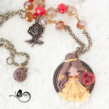 clay necklace / Belle / disney / princess / clay