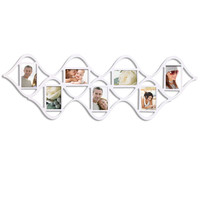 """Decorative White Wood """"Double Wave"""" Wall Hanging Picture Photo Frame"""