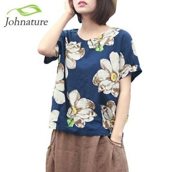 LMFGC3 Johnature 2017 Summer New Women Print Flower Round Neck Cotton Linen Short Sleeve T-Shirt Loose Vintage Girl Top