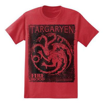 Game of Thrones House Targaryen Sigil Square Licensed Adult Red T-Shirt - M