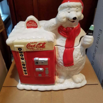 Coca Cola Polar Bear Coke Machine Cookie Jar