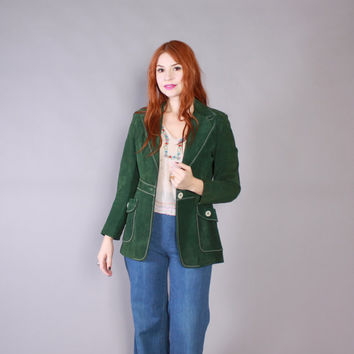 Vintage 70s Leather JACKET / 1970s Forest GREEN Suede Fitted Boho Coat XS