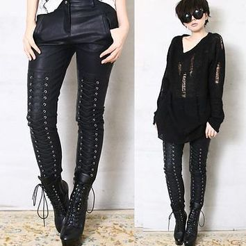 Runway Punk Corset Laceup Skinny Cigarette Faux Leather Pleather Stretch Pants