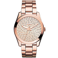 Fossil Perfect Boyfriend Pave Dial Rose Gold Tone Watch - Rose Gold