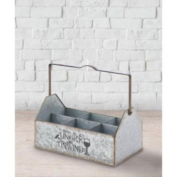 Country Farmhouse Galvanized Metal Bottle Caddy Holds 6 Bottles
