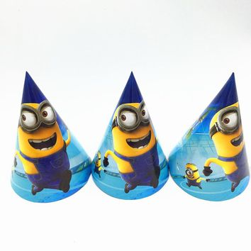 6pcs/lot MInions birthday paper hats kids birthday party supplies Minions party caps happy birthday cap party supplies
