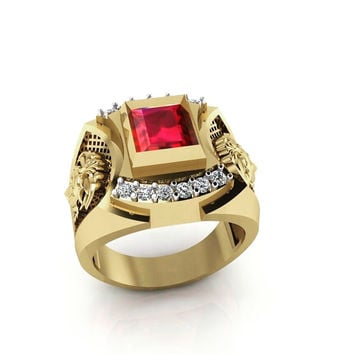 Men's Roman Warrior Ring 14 k Center Ruby