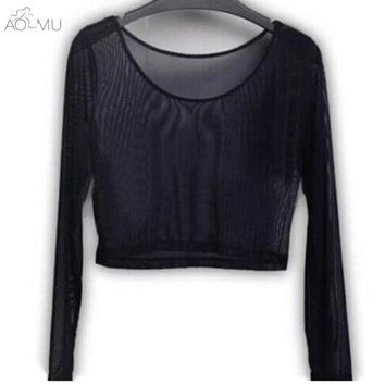 AOMU 2017 Fashion Solid O-neck Blusa Tops Unicorn Sexy Womens Crop Top Ladies Mesh Fishnet Sleeve Stretch Vest T Shirt