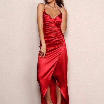 Red Number Silky Dress