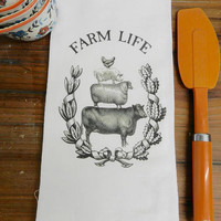 Farm Life Towel Farm Animals Stacked  Flour Sack Tea Towel Cow Sheep Chicken Pig