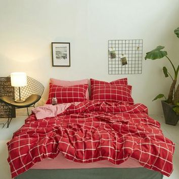Allover Grid Print Sheet Set -SheIn(Sheinside)