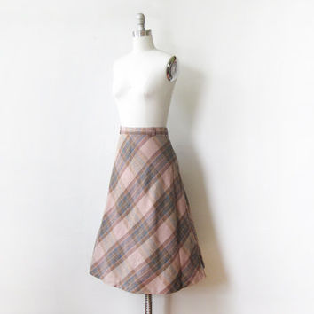 vintage 70s plaid skirt / pink and brown plaid circle skirt / medium 1970s plaid skirt