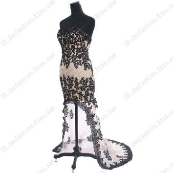 Sexy Strapless Black Lace Prom Dresses Long With Train Natural waist Fashion Lace Up 2014 New Arrival High Low evening Dress