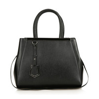 Leather Handheld Tote Bag With Detachable & Adjustable Strap-Black from KissBags