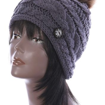 Gray Faux Fur Pom Pom Cable Knit Winter Beanie Hat And Cap