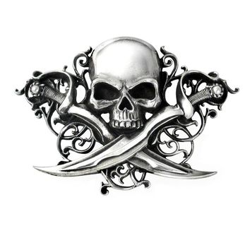 Alchemy Gothic Letter Of Marque Skull Belt Buckle Pirates