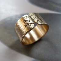 Autumn tree ring, gold ring, 14K yellow gold hammered ring, metalwork jewelry
