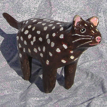 Spotted  Marsupial Cat -   Paper Mache Amimal Sculpture