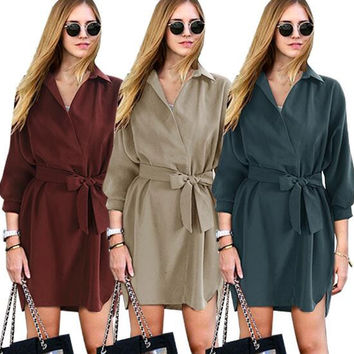 Loose Casual Belted T Shirt Dress  12413