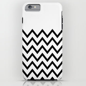 Black Chevron On White iPhone & iPod Case by Pencil Me In ™
