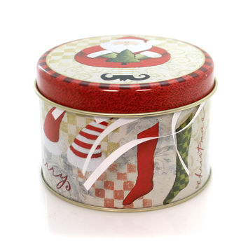 Christmas Santa Candle Tin Christmas Decor